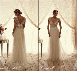 Wholesale 2016 Anna Campbell Summer Beach Wedding Dresses V Neck with Pearls A Line Tiers Tulle Bohemian Vestido De Novia Long Vestido De Novia