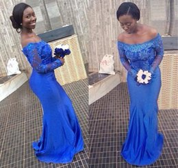Royal Blue 2016 Evening Dresses Long Sleeves Lace Formal Prom Gowns Arabic Dress With Beading Bateau Neck Zip back Floor Length