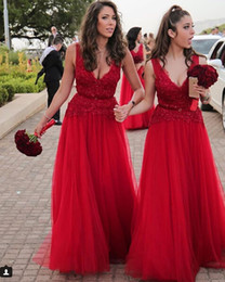 Red color Tulle elegant Bridesmaid Dresses Lace Applique Bead Deep V-neck A-Line Elegant Evening Dress Prom Gowns No Sleeve With Sash Cheap