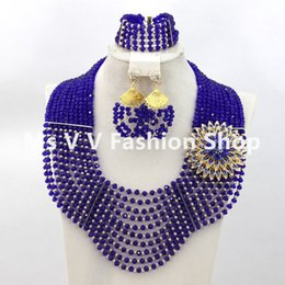African Wedding Beads Jewelry Set royal blue silver Bridal Fashion Crystal Jewelry Set 2018 Hot Free Shipping