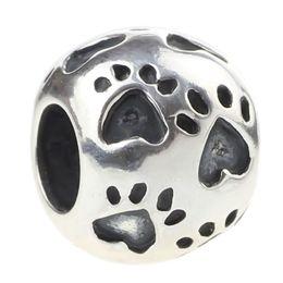 1PCS lot European 925 Sterling Silver Heart Footprint Charm Beads Fits European Pandora Style Bracelets Jewelry