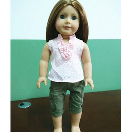 Wholesale fashion clothes for inch american doll girl dolls clothing accessories T shirt shorts with track code