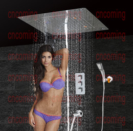 Wholesale Bathroom Shower Set with LED Ceiling Shower Head Brass SpoutThermostatic Concealed Panel Bath Shower Product Rain Waterfall Bubble HS5307