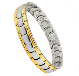 Gold Silver Men's Health Bracelets & Bangles Magnetic Benefit Power Stainless Steel Charm Bracelet Jewelry For Man