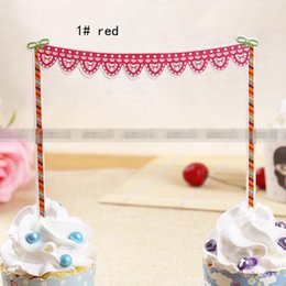 red blue cake toppers paper cards banner for Cupcake Wrapper Baking Cup happy birthday tea party decoration