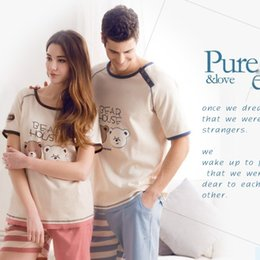 Wholesale-Fashion 100% Cotton Pajamas Couples With Short Sleeves And Lovely Cartoon Bear Leisurewear Suit Sets 01