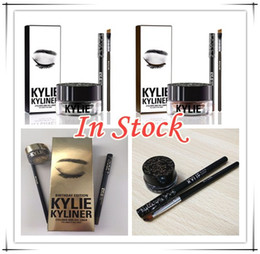 Wholesale 20 set In stock NEW Kylie Cosmetics By Kylie Jenner Kyliner In Black Brown Kyliner Kit with Eyeliner Gel pot Brush top quality best price
