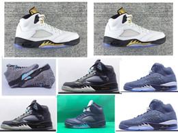 Wholesale Metallic Gold s Retro V mens basketball shoes Lab5 Elephant Midnight Navy men sports shoes full grain leather Retros J