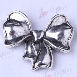 Bow antique Silver bronze DIY Pendant Fit Bracelets Necklace Charms Zinc Alloy Jewelry 50pcs lot 3302