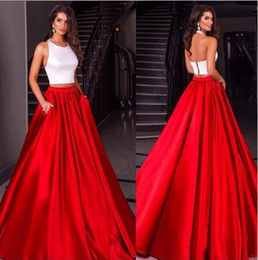 Cheap Modest 2016 Two Pieces White Red Satin Prom Dresses Evening Party Sleeves Party Gown