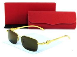 Wholesale New fashion brand vintage gold metal semi rimless frame plain mirror glasses buffalo sunglasses lunettes de soleil homme