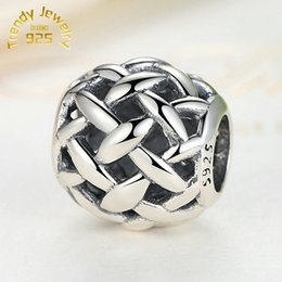 Wholesale 100 High quality S925 Stamped Sterling Silver Openwork Basketweave Charm Bead Fits European Jewelry Bracelets Necklaces Pendants
