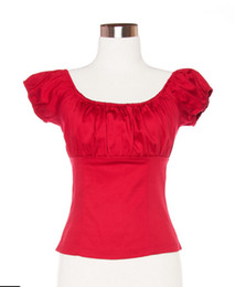 Women Red Peasant Tops Blouse Off The Shoulder Sexy Shirts Rockabilly Clothing Top Blouse