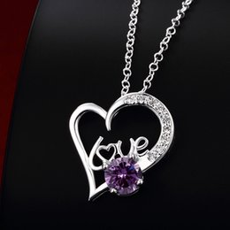 New arrival fashion heart shape 925 silver Pendant Necklaces STPN022C, best gift purple gemstone sterling silver jewelry necklace