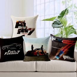 Wholesale Fast And Furious Cushion Cover Vin Diesel Paul Walker Cushions Pillows Covers Decorative Sofa Seat Linen Cotton Pillow Case