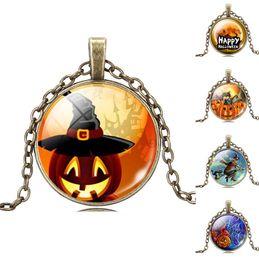 Wholesale Halloween Pendant Necklaces Pumpkin Lantern Design Glass Gem Pendant Necklaces Fashion Jewelry Halloween Gifts Hot Sale
