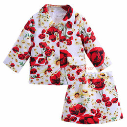 Spring And Autumn Children Clothing Set For Girls Flower Suits Medium Sleeves Top And A-Line Skirt For Girls CS90317-716F