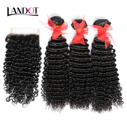 3 Bundles Brazilian Curly Virgin Human Hair Weaves With Closure Unprocessed Brazilian Deep Kinky Curly Hair And Lace Closures Natural Color