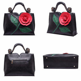 Women 3D Rose Flower handbags famous brands women messenger bags women's pouch bolsas purse fashion leather handbag ladies