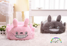 CW041 Product for dogs pink gray plush pet bed for dogs Neighbor Totoro shape pet house luxury dog bed