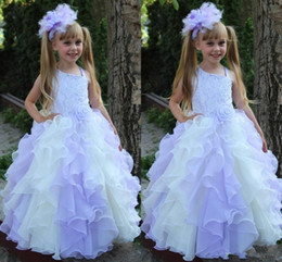 Lanvender Ball Gown Flower Girl's Dresses 2016 With Lace Cascading Ruffles Floor Length Baby Girl Dress Communion Dresses For Little Girl