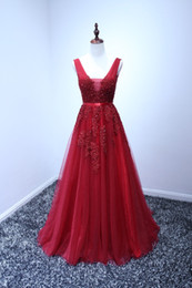 Wholesale 2017 Cheap Real Burgundy Prom Dresses V Neck Sleeveless A Line Floor Length Appliques Lace With Pearl Soft Tulle Evening Graduation Dresses