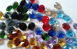 Wholesale 200 MM Glass Crystal Octagon Beads In Hole Holes Freeshipping color choose tof