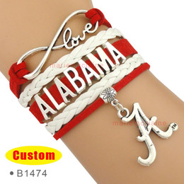 Wholesale Infinity Love Crimson Tide Football Alabama Team Sports Bracelets Red White Women Men Lady Girl Jewelry Gift Custom Drop Shipping