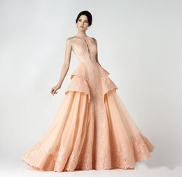 Gorgeous Light Coral Lace Halter Prom Dresses 2016 Sleeveless Applique Tiered A Line Evening Gowns Backless Floor Length Formal Party Dress