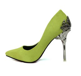 Fashion Sexy Women Pumps Carved Metal Thin High-heeled Women Suede Shallow Mouth Pointed Wedding Whoes High heels Heeled shoes free shipping