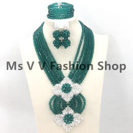 2018 18k Gold Plated teal crystal Jewelry Sets African Beads Collar Statement Necklace Set Women Wedding Party Accessories for women gift