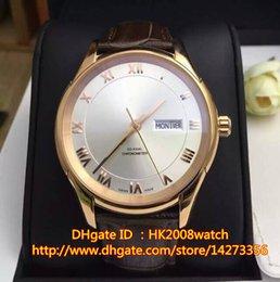 Nuevo reloj de lujo de lujo de Rose del oro 41m m DeVille de Brown del reloj de cuero del mensajero automático de Brown 431.53.41.22.02.001 desde esfera blanca para hombre de los relojes automáticos proveedores