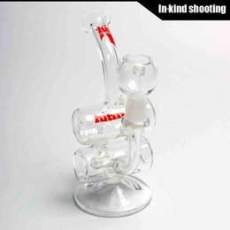 Wholesale Hitman Glass Baby Double Barrel Recycler Vapor Rig bongs water pipe s bong glass dab oil rigs percolator bubbler pipe mini drum thick