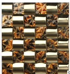Wholesale metal stainless steel mosaic glass TV background wall tile living room D
