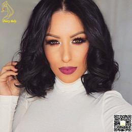 "2016 Short Wavy 4""X4"" Silk Top Lace Full Wig Peruvian Human Hair Body Wave Front Lace Wigs Silk Base For Black Women"