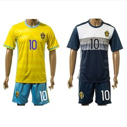 Wholesale Sweden Soccer Jerseys Euro Shirts Sets Ibrahimovic Larsson Berg Home Away Football Kits Soccer Uniforms European Cup Jersey