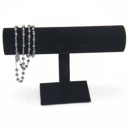 Wholesale Black Velvet Expositores Fashion Jewelry Display Stand Holder for Bracelets Bangle Watch Chains Hanging T bar Rack