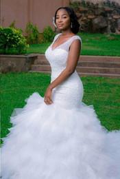 2017 Splendid Mermaid Wedding Dresses with Beaded Cascading Ruffles Back Lace up Catherdral Train Long Elegant Wedding Gowns Black Girl