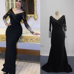 Real Images 2016 Saudi Arabic Evening Dresses Long Illusion Beaded Sleeves V Neck Floor Length With Court Train Formal Gowns