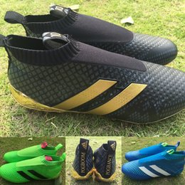 Wholesale nolace Ace16 laceless Ace soccer boots outdoor Football Shoes Soccer Cleats Boots Authentic high Ankle soccer cleats