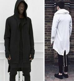 Punkool Men Hoodie Sweatshit Long Style Multi-zipper Men Hooded Sweatshirt Curved Hem Cloak Sleeves Plus Long Black Hoodie