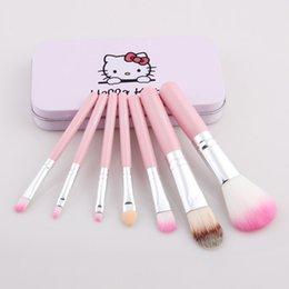 7pcs Bonjour Kitty Make Up pinceau cosmétique Kit Pinceaux Cas rose de fer / toilette appareils de beauté bonjour Kitty brosse mis DHL livraison gratuite à partir de brosses 7pcs fabricateur