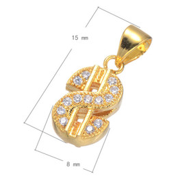 DIY Phone Rope Charm CZ Micro Inlay Brass Pendant Dollar Symbol Plated More Colors For Choice 15x8mm Hole:About 3.6mm 15PCS Lot