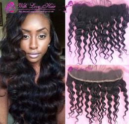 Descuento 7a encierro del pelo de la onda profunda 130% extensiones de cabello frontal del cordón densidad 7a onda brasileña virginal profunda del pelo 13x2 frontal del cordón de cierre bebé hairblenched nudos