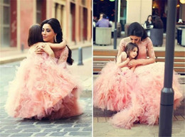 Wholesale Cute Lovely Images - Blush Pink Girls Pageant Dresses 2016 Child Communion Dresses Cascading Ruffles Tulle Covered Buttons Lovely Cute Mother and Daughter Gowns