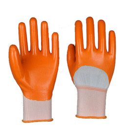 Wholesale 13Gauge Seamless Polyester Coated Industrial Nitrile Glove Protective Gloves Nitrile Protective Working Glove Natural Nitrile Glove