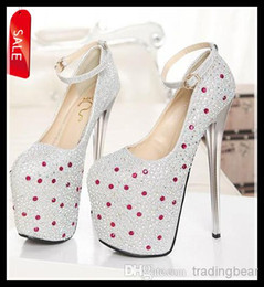 Wholesale Silver Strappy Wedding High Heels - 2014 New Luxury Diamond Studded Prom Gown Ankle Strappy Shoes Wedding Bride Super High Platform Silver Gold 19cm Heels ePacket Free Shipping