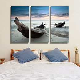 3 Panel HD Large Oil Painting on Canvas Wall Picture Beautiful Boat Seascape for House Decoration or Sofa Background No Frame Free Shipping
