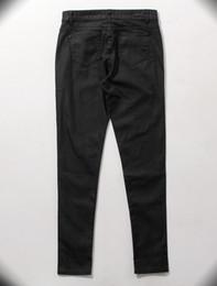 Wholesale mens jumpsuit fashion hip hop clothing for big men pants designer slp kanye rock black waxed denim skinny jeans