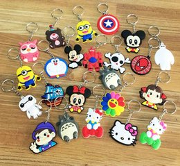 Wholesale PVC Cartoon Key Rings Keychain Soft Rubber Car Handbag Cell Phone Rings Minions Marines Finder Souvenirs Key Holder Gifts Style PX K02